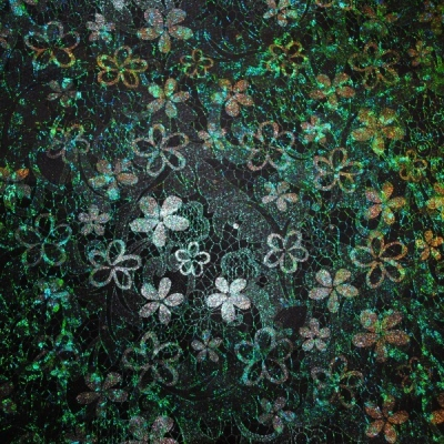 Кожа Свиная Принт зеленые цветы