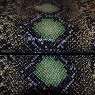 Кожа Свиная Принт Рептилия зеленая Г5731 (зеленый питон)