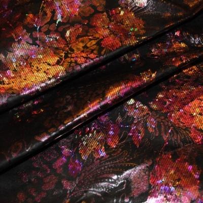 Кожа Свиная Принт малиновые цветы на черном
