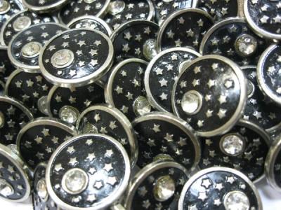 Пуговицы пробивные металлические Страза со звездами уп. 50 шт.