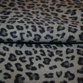 Кожа одежная Стрейч овчина серый леопард А 132
