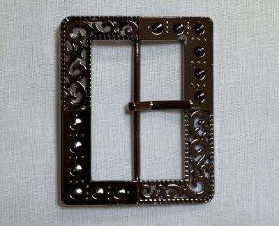 Пряжка 5 см прямоугольная  темн. металлик