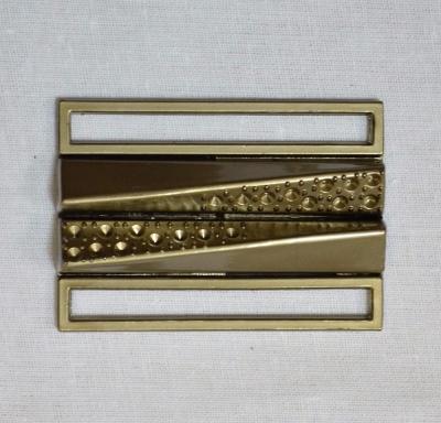 Пряжка 5 см металлическая из двух деталей светлая бронза