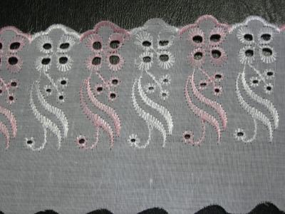 Кружево Розовое с белым 4 см 10 м