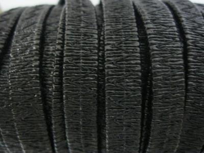 Резинка босоножная в кожаной оплетке 6 мм чёрная Италия