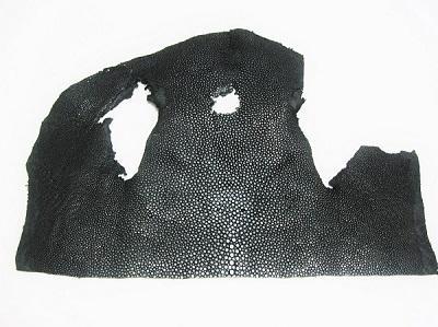 Кожа Скат натуральный шлифованный цвет чёрный