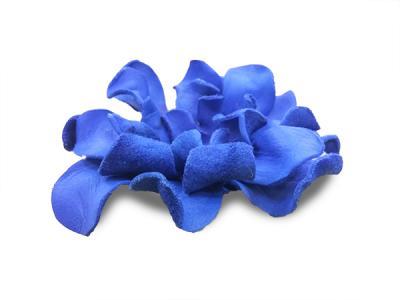 Декоративный цветок из натуральной кожи синий