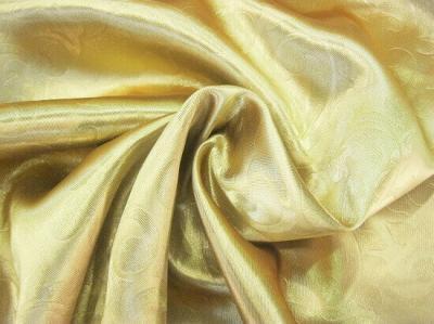 Портьерная ткань Блэкаут цвет золото рисунок растительный вензель
