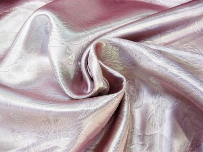 Портьерная ткань Блэкаут цвет розовый рисунок розы