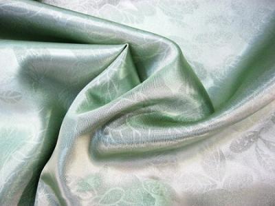 Портьерная ткань Блэкаут цвет зеленый рисунок розы
