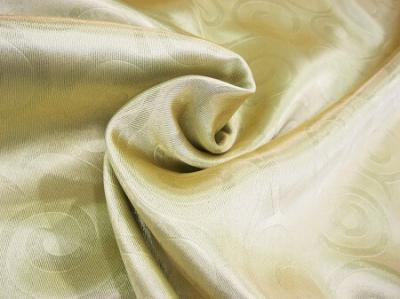 Портьерная ткань Блэкаут цвет золото рисунок завитки