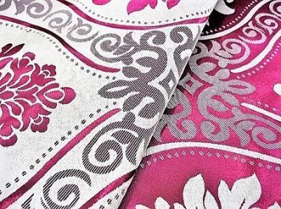 Портьерная ткань Блэкаут цвет красный рисунок цветы
